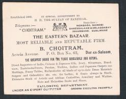 Business Card - Dar-es-Salaam, Zanzibar, The Eastern Bazar, B. Choitram, Acacia Avenue - Tanzanie - 2 Scans - Tanzanie
