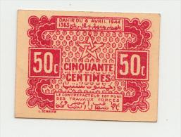 MOROCCO 50 CENTIMES 1944 AUNC P 41 - Marocco