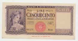 Italy 500 Lire 1947 XF Banknote P 80a - [ 1] …-1946 : Koninkrijk