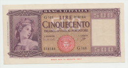 Italy 500 Lire 1961 AUNC Pick 80b 80 B - [ 1] …-1946 : Reino