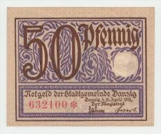 Danzig 50 Pfennig 15-4- 1919 UNC NEUF Pick 11 - Lokale Ausgaben