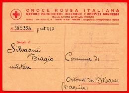 PRIGIONIERO DI GUERRA-CARTOLINA CROCE ROSSA -PER ORTONA DEI MARSI-1942-016 - Guerre 1939-45