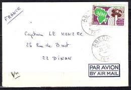 Timbre  SEUL S LETTRE Cachet  ABECHE  Tchad Le 28 1 1972  Pour 22 DINAN  Par Avion - Chad (1960-...)