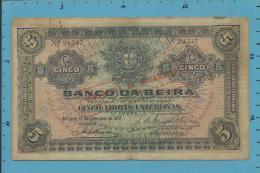MOZAMBIQUE - 5 LIBRAS ESTERLINAS - ND (15.09.1919 ) - Pick R21 - PAGO 5.11.1942 - BANCO DA BEIRA - COMPANHIA - PORTUGAL - Moçambique