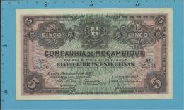 MOZAMBIQUE - 5 LIBRAS ESTERLINAS - 15.01.1934 - P R32 - UNC - PAGO 5.11.1942 - COMPANHIA DE MOÇAMBIQUE - Mozambique