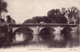 PONTLIEUE ( Sarthe ) N° 38  Le Pont  Circulée 1915 ( Attelage Sur Pont ) - Autres Communes