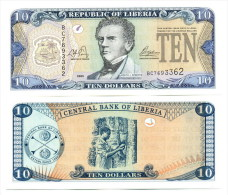 Liberia 10 Dollars 2008  Pick 27 UNC - Liberia