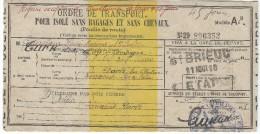 Ordre De Transport Pour Isolé Sans Bagages Et Sans Chevaux ( Feuille De Route)/ St Brieuc/train/ 1918       POIL132 - Documents