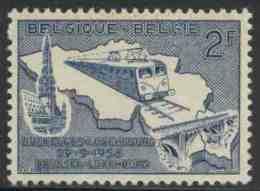 België Belgium Belgique 1956 Mi 1045 YT 966 * MH -  Electric Train Type 122 + Railway Bridge / Zug Mit E-Lok BR 122 - Treinen