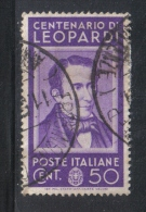 3RG801 - REGNO 1937 ,  50 Cent N. 430  . Illustri  Leopardi - Gebraucht