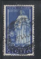 3RG804 - REGNO 1937 ,  1,25 Cent N. 432  . Illustri  Giotto - Gebraucht