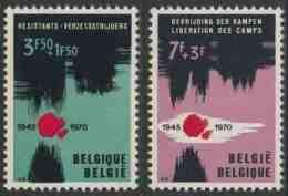 België Belgium Belgique 1970 Mi 1598 /9 YT 1539 /40 ** 25th Ann. Prisoner Of War And Concentration Camps Liberation - WO2