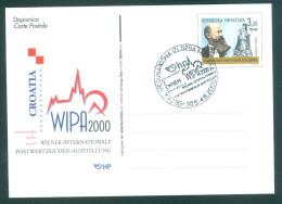 KROATIEN - Postkarte WIPA 2000 Wien - Sonderstempel WIPA - Briefmarkenausstellungen