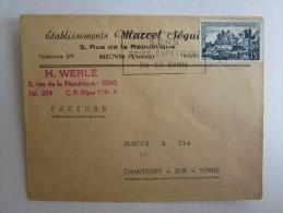 LETTRE CACHET MACHINE A AFFRANCHIR OBLITÉRATION DAGUIN SENS RUE DE LA REPUBLIQUE FOIRE EXPOSITION - Postmark Collection (Covers)