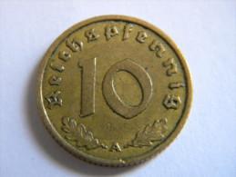 ALLEMAGNE - 10  REICHSPFENNIG 1937 A.