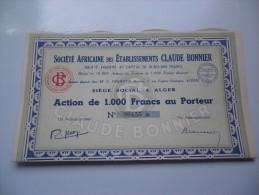 Ets CLAUDE BONNIER (capital 10,8 Millions) ALGERIE - Shareholdings