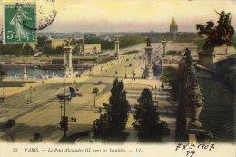 CPA    75   PARIS   LE PONT ALEXANDRE III,VERS LES INVALIDES---1907 - Bruggen