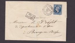 FRANCE. TIMBRE. LETTRE. BOURG EN BRESSE. AIN. LYON. PREFECTURE. PREFET. 01. PARIS. CACHET DEPART - 1863-1870 Napoléon III Lauré