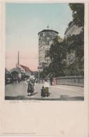 AK Cheb Eger Altstadt Turm Am Mühltor Stadtmauer Leute Fabrik ? Gasthof ? Egerland Sudeten Sudetenland - Sudeten