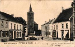 BRABANT   2 CP Mont St Guibert    La Place Et L'Eglise  1906  Le Monument - Mont-Saint-Guibert