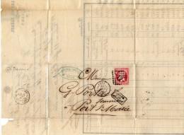 TB 241 - TB Type Napoléon III Empire  Franc N° 24 Rose Sur Lettre  OB AGEN Pour PORT - SAINTE -  MARIE - Storia Postale