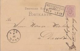 DR Ganzsache Seltener Stempel Weissenfels Bahnhof 9.3. - Allemagne
