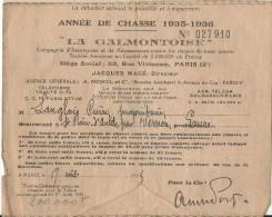Carte D'assurances /Société De Chasse/ Année 1935-1936/La Galmontoise/Paris/St Pierre D'Autils  / 1935          VP646 - Non Classés