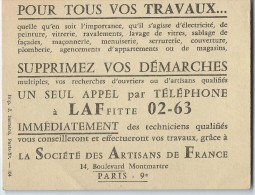 Société Des Artisans De France/ Publicité / Si Vous Avez Besoin D'un Artisan Qualifié / Vers 1960-1965       VP652 - Non Classés