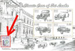 Sri Lanka Stamps 2011, Vintage & Classic Cars, Automobile, MS, WITH PHILEX LOGO - Cars
