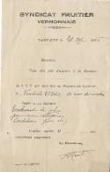 Syndicat Fruitier Vernonnais / Convocation à Réunion/ Ordre Du Jour/  Saint Just/  Eure/1946        VP653 - Non Classés