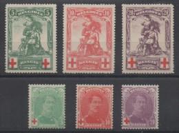 Belgique - YT N° 126 à 131 - Neufs * - MH  - Cote: 90,00 € - 1914-1915 Croix-Rouge