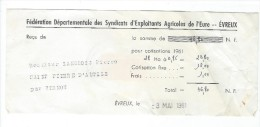 Agriculture/ Reçu De Cotisation/ Féd. Dép. Des Syndicats D'exploitants Agricole De L'Eure/Evreux/ 1961       VP656 - Non Classés