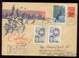 MAIL Post Stationery Cover Used USSR RUSSIA New Year Ski Skier Space Rocket Sputnik - Lettres & Documents