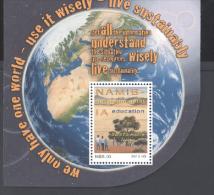 NAMIBIA ,MNH, 2013, ENVIRONMENTAL EDUCATION,TREES,SAND DUNES, SUSTAINABLE LIVING, GLOBE,  S/SHEET - Milieubescherming & Klimaat