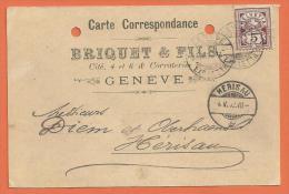 JAE-11 Carte De Commande De Matériel De Briquet  Fils Corraterie à Genève Vers Herisau Appenzell. - Switzerland