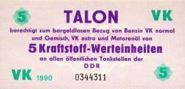 TALON 5 Kraftstoff - Werteinheiten Der DDR 1990! - [ 6] 1949-1990 : RDA - Rep. Dem. Tedesca