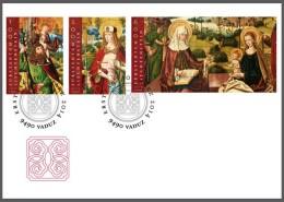 lie2140452 Liechtenstein 2014 Painting Winged altar FDC Michel Nr.1707-1709