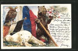 CPA Illustrateur Haager Friedenskonferenz 1899, B�r, Eisb�r et Doppelkopfadler avec Fahne