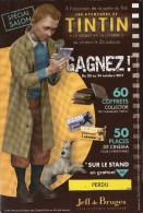 Les Aventures De  TINTIN (carte Jeu Tombola Jeff De Bruges) - Bandes Dessinées
