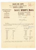Lettre à Entête - Sacs En Jute  Société Marcel WINANTS - CLAMART 1949 (f16) - Non Classés