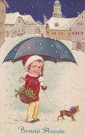 GREETINGS/SMALL GIRL WITH UMBRELLA AND TINY DOG - Children