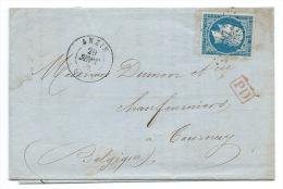 N° 14 BLEU NAPOLEON SUR LETTRE / ANZIN NORD POUR TOURNAY  BELGIQUE / 1860 / TARIF FRONTALIER - 1849-1876: Classic Period