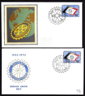 LOT 4 LETTRES ROTARY INTERNATIONAL- EUROPE- 3 BELGIQUE + 1 ILE NORFOLK- TAMPONS DE 1974-75-80- 2 SCANS - Rotary, Lions Club