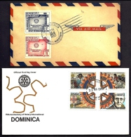 LOT 4 LETTRES ROTARY INTERNATIONAL- AMERIQUE- REPUBLICA DOMINICA- TAMPONS DE 1955-80-93 - 2 SCANS - Rotary, Lions Club