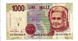 """ITALIE BILLET 1000 LIRES DECRET 1990  """"SERIE VE"""" PHOTOS R/V - [ 2] 1946-… : République"""