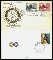 LOT 4 LETTRES ROTARY INTERNATIONAL- AMERIQUE- 2 COLOMBIE + 2 PARAGUAY- TAMPONS DE 195576-97 - 2 SCANS - Rotary, Lions Club