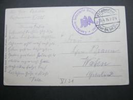 1916, SAMPTER , KlaresTruppensiegel Auf Feldpostkarte - Duitsland