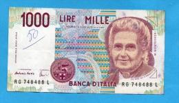 ITALIE BILLET 1000 LIRES DECRET 1990 SERIE RG PHOTOS R/V - [ 2] 1946-… : République