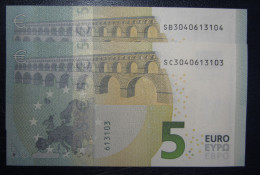 2x 5 EURO S002C4-C5 Nine Equal Numbers SB+SC ITALY  ITALIA Draghi Perfect UNC - EURO