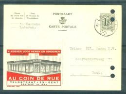 "PUBLIBEL Nr 1262 - Kleding ""AU COIN DE LA RUE"", Veldstraat, GENT - Cachet ""LOKEREN"" - Geperforeerd/perforé - Enteros Postales"